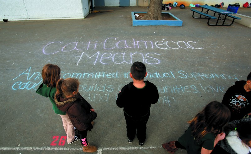 A heartfelt message was written in chalk last December on the school prayground.