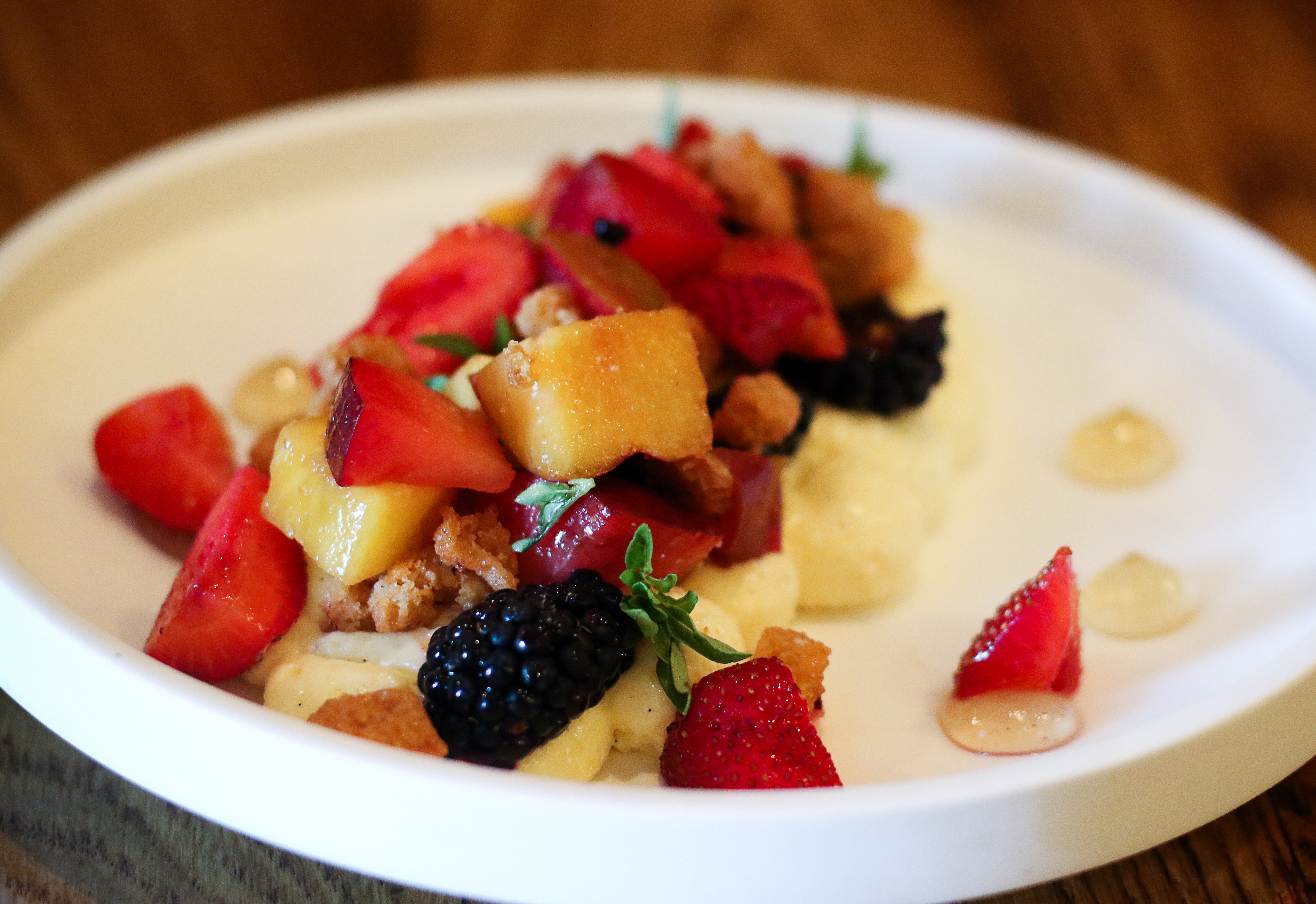 Deconstructed fromage blanc cheesecake with summer fruit at the Brass Rabbit in Healdsburg. Heather Irwin/PD