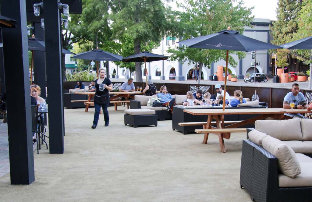 The patio at 2 Tread Brewing Company opens a craft brew and pub with a large patio where you can ride up on your bike for a pint. Heather Irwin/PD