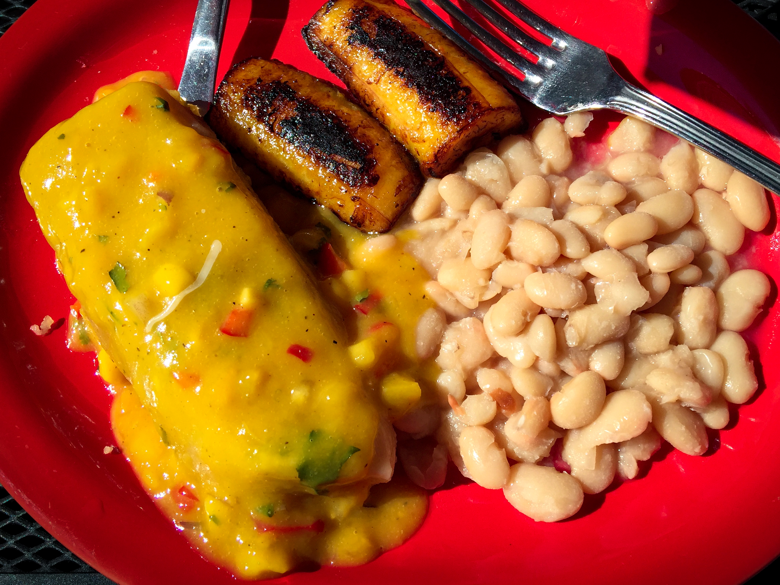 Tamale with plantains and beans at Don Julios RInconcito in Rohnert Park. Heather Irwin/PD