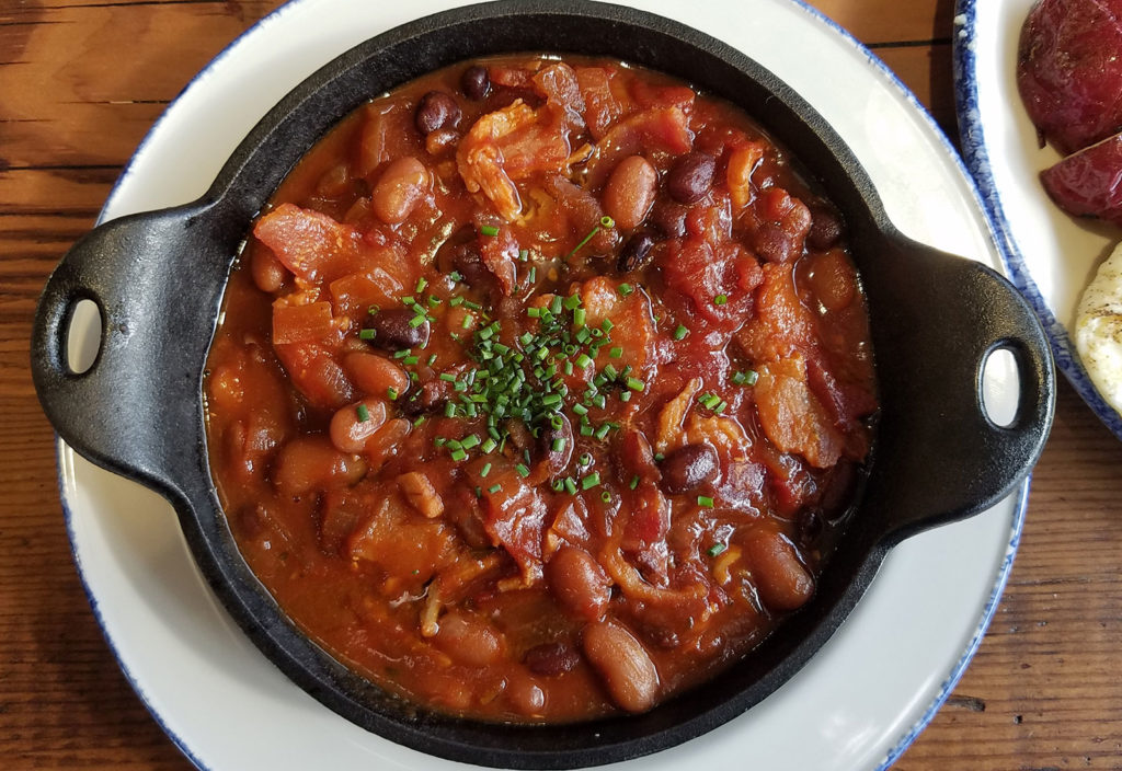 Rancho Gordo Beans with Black Pig Bacon at Chicken Pharm restaurant in Petaluma. Heather Irwin/PD