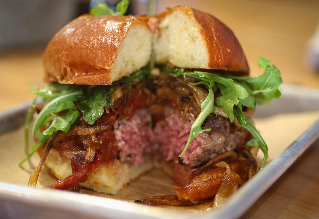 Fallon Hills beef burger at Chicken Pharm restaurant in Petaluma. Heather Irwin/PD
