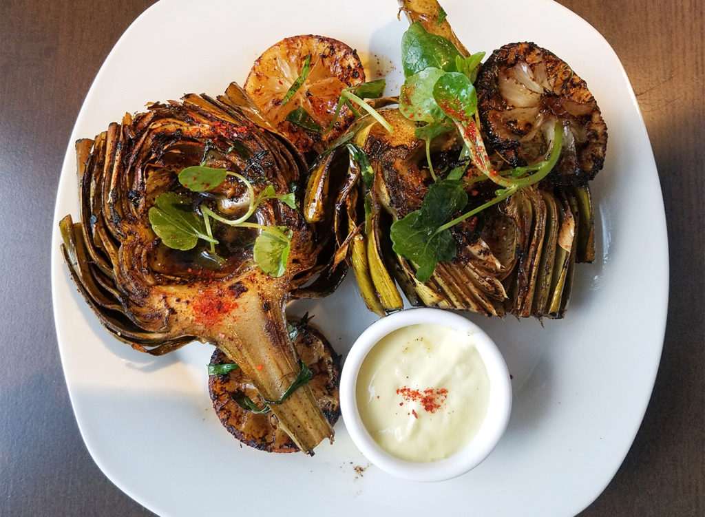 Artichokes with brown butter and tarragon with lemon aioli at Tisza Bistro in Windsor. Heather Irwin/PD