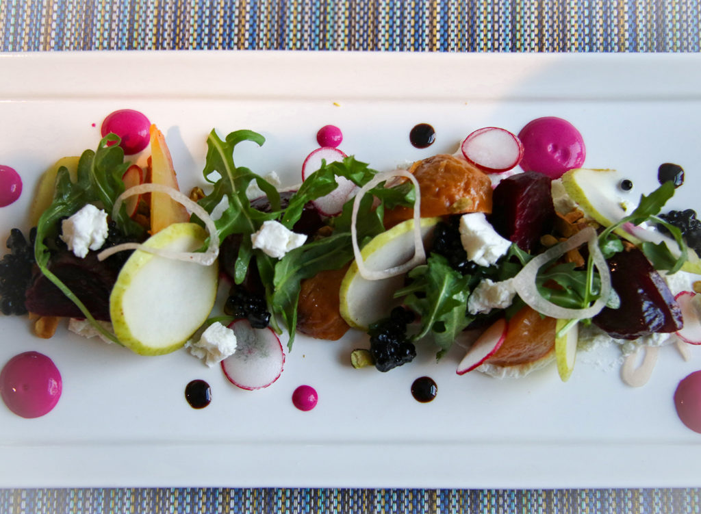 Beet salad with pears, whipped chevre and beet yogurt at Tisza Bistro in Windsor. Heather Irwin/PD