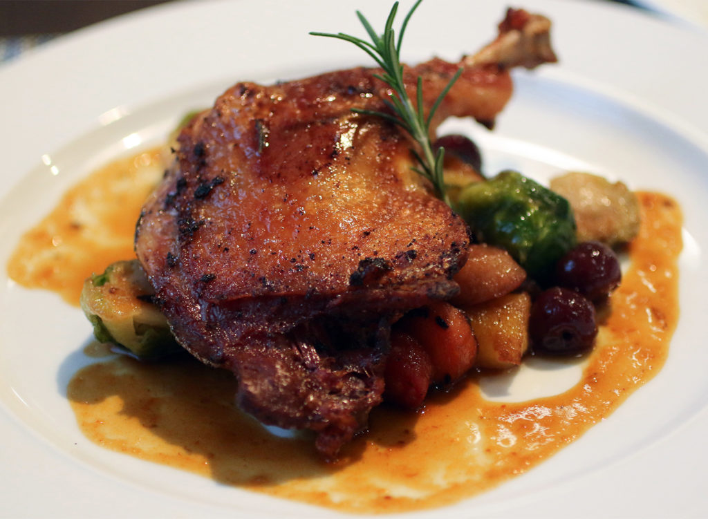 Duck confit with brandy-soaked cherries at Tisza Bistro in Windsor. Heather Irwin/PD