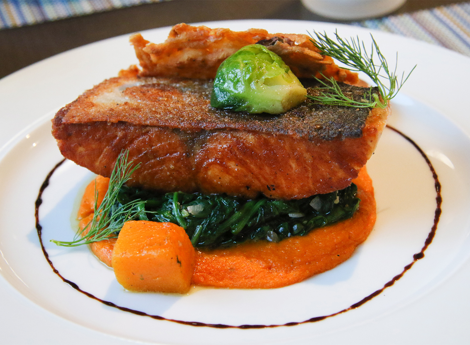 Salmon with carrot puree at Tisza Bistro in Windsor. Heather Irwin/PD