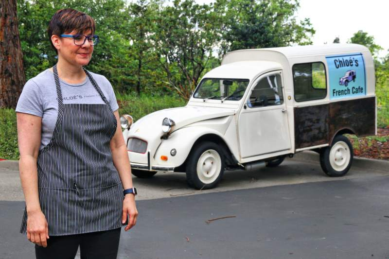 Renee Pisan next to the vintage Chloe, a French catering truck that belonged to the family for years, last May. North Bay Business Journal