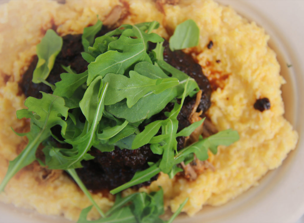 Polenta at Barrio Fresca Cocina Mexicana, a walk-up cantina that recently opened in Sebastopol's Barlow Center. Heather Irwin/PD
