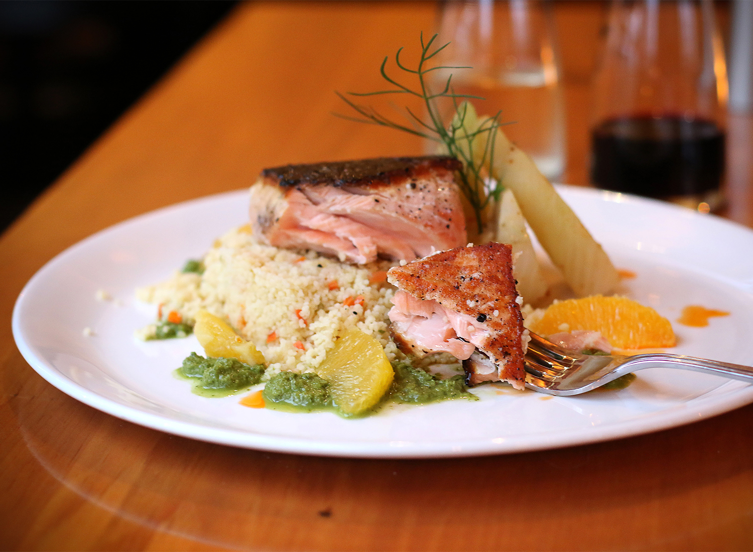 Salmon and couscous with orange at Salt and Stone Restaurant in Sonoma County, Kenwood. Heather Irwin/PD