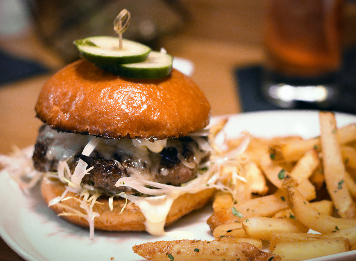 House burger with aged cheddar, lettuce, at Perch and Plow restaurant in Santa Rosa. Heather Irwin/PD