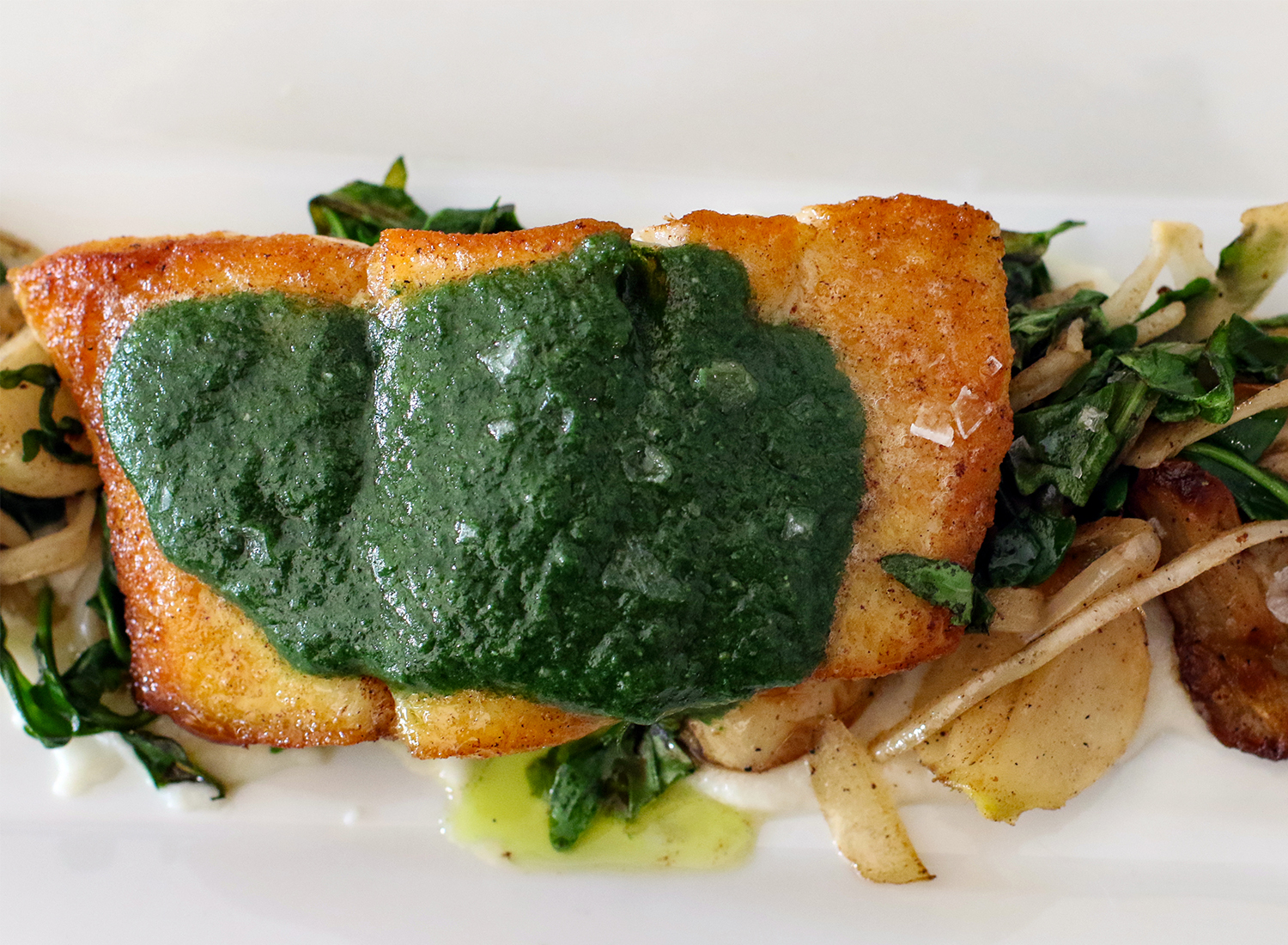 Seared halibut at Perch and Plow restaurant in Santa Rosa. Heather Irwin/PD