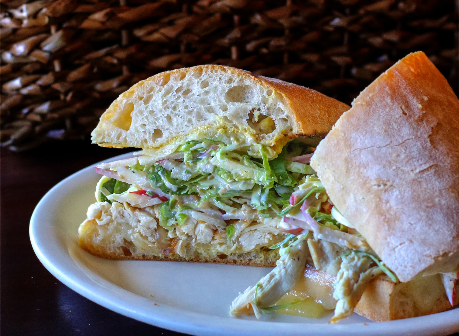 Roast chicken sandwich with apple Brussels sprout slaw, sharp cheddar, Dijon. Heather Irwin/PD