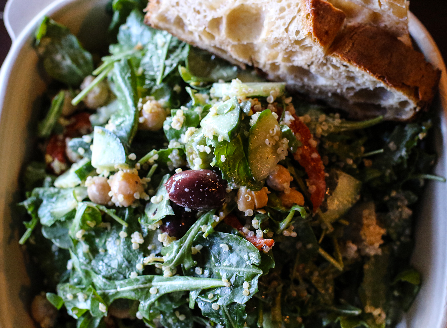 Hanna salad with quinoa, kale, arugula, olives, red peppers, chick peas and tahini dressing at Zoftig. Heather Irwin/PD