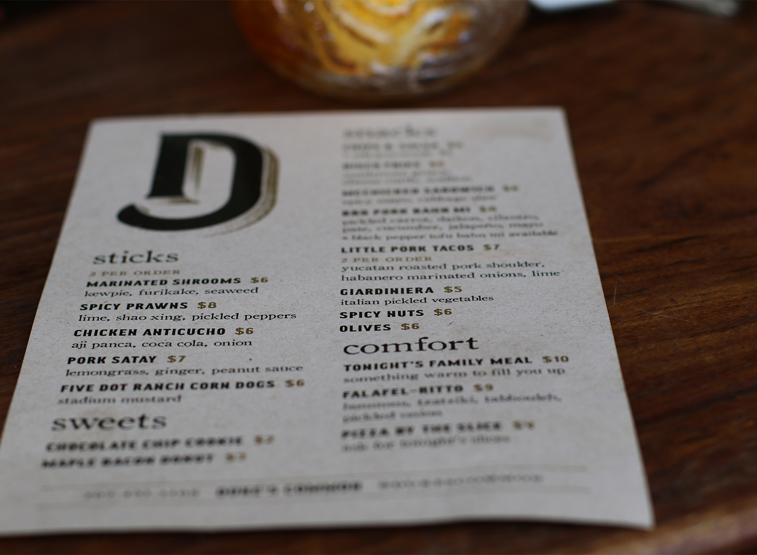 Menu at Duke's Common in Healdsburg. Heather Irwin/PD