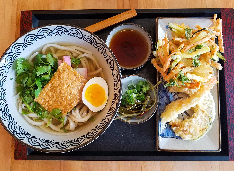 Tofu udon with birds nest veggies, pumpkin, prawn tempura at Ippinn Udon and Tempura in Santa Rosa. Heather Irwin/PD