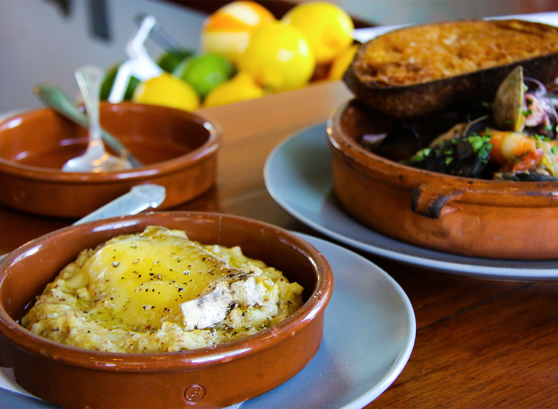 Buckwheat polenta and fish stew at Pearl restaurant in Petaluma. heather irwin/PD