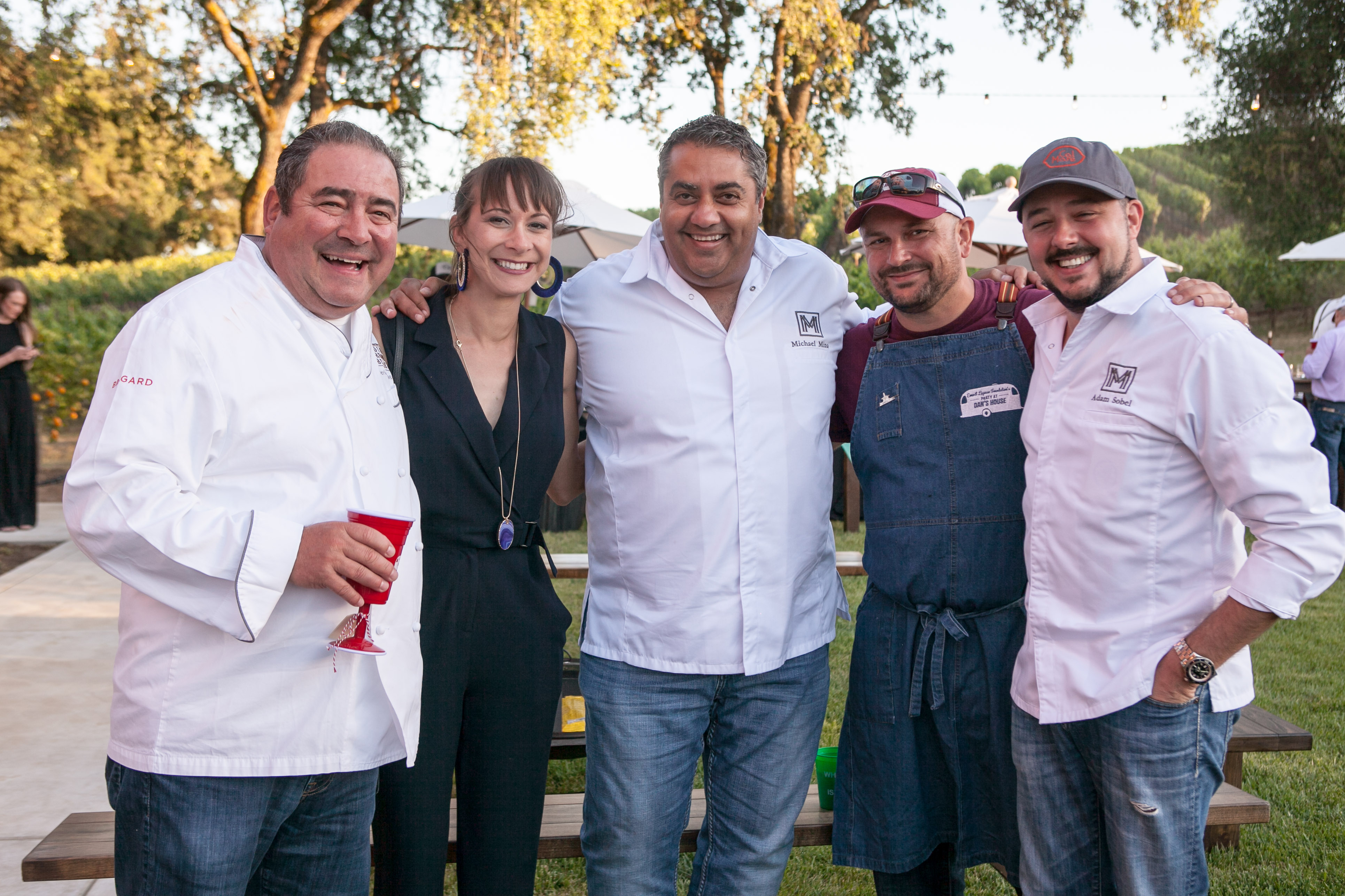 Emeril Lagasse, Antonia Keller, Michael Mina, Brian Kish and Adam Sobel at Arista Winery for Dan's Trailer Party in June 2018. Photo: Molly Loubiere (ELF)