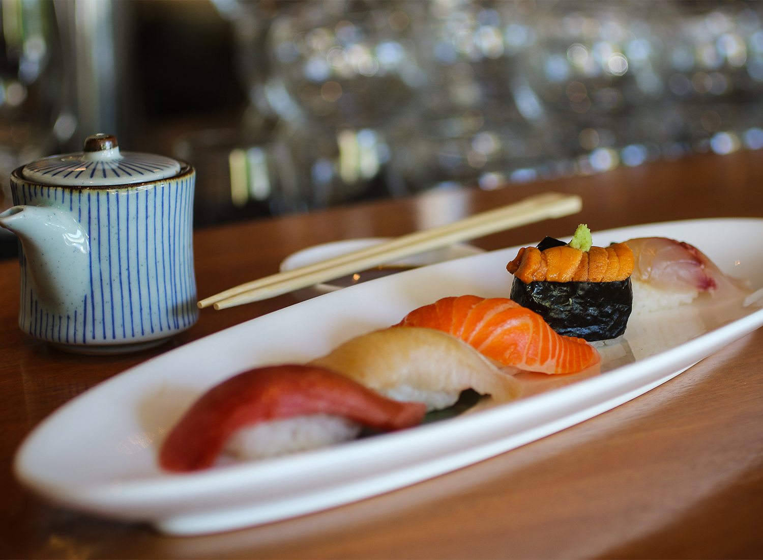 Five piece nigiri at Sake 107 in Petaluma. Heather Irwin/PD