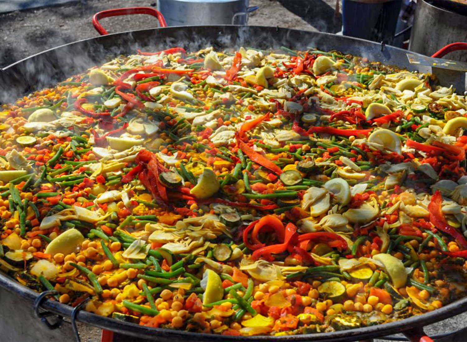 A large pan of paella from Gerard's Paella catering at Wednesday Night Market in Santa Rosa. Heather Irwin/PD