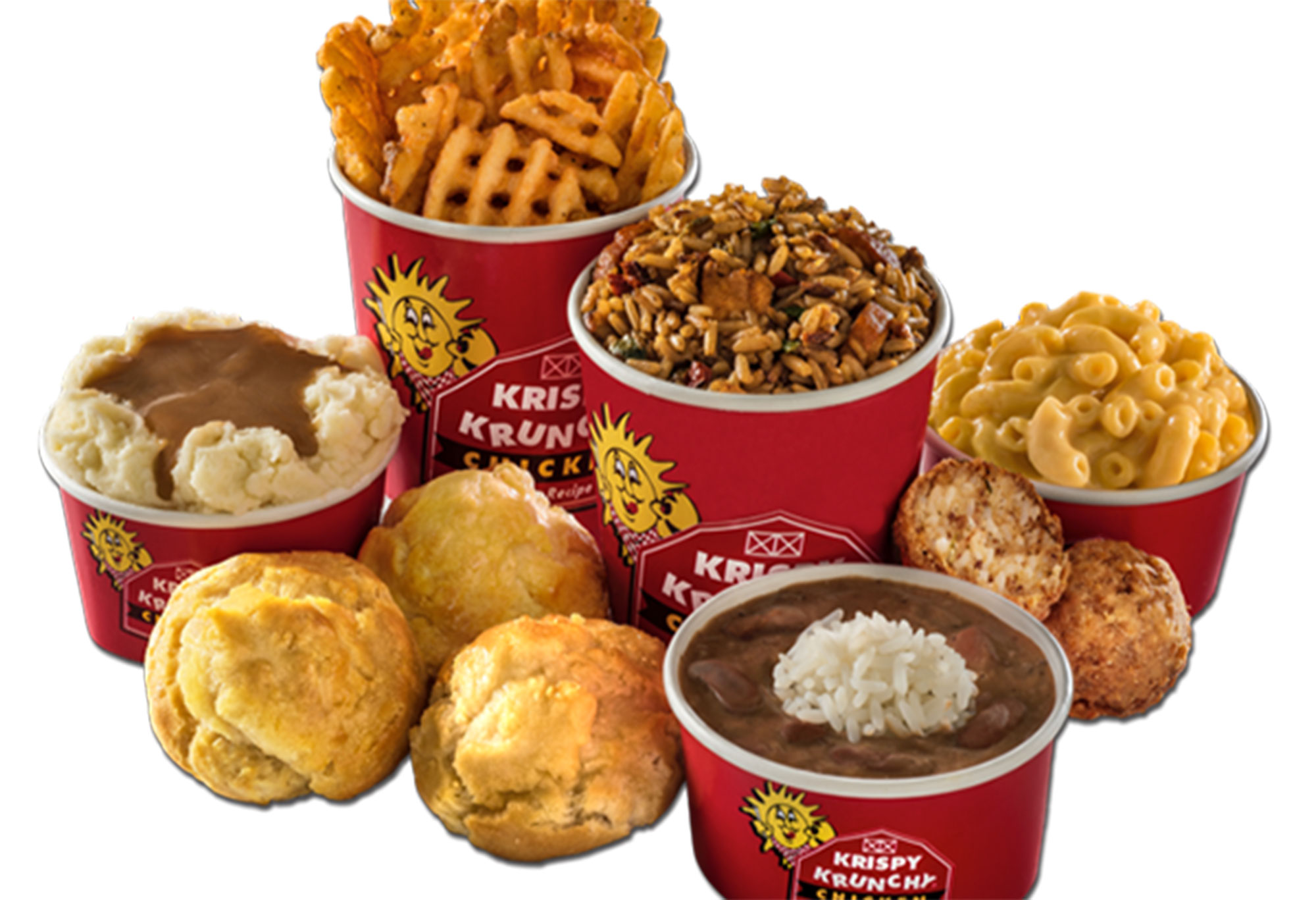 Krispy Krunchy Chicken sides include black beans and rice, honey biscuits, mashed potatoes, macaroni and cheese and fries. Courtesy photo.