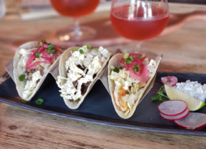 Taco trio and rose gose at Barrels, Brews and Bites in Healdsburg. Heather Irwin/PD