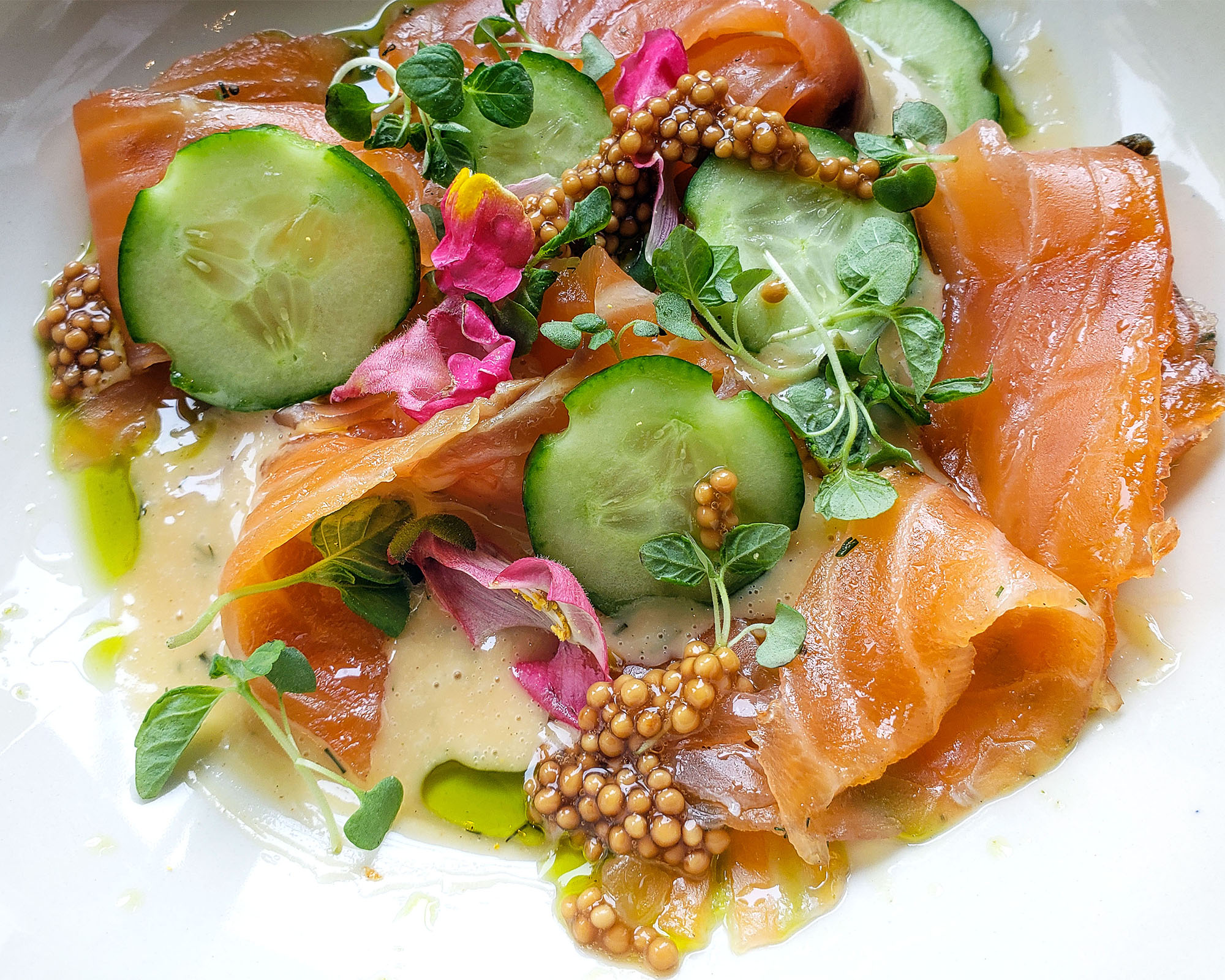 Gravlax cured salmon with mustard dill sauce at Stockhome Restaurant in Petaluma. heather irwin/PD