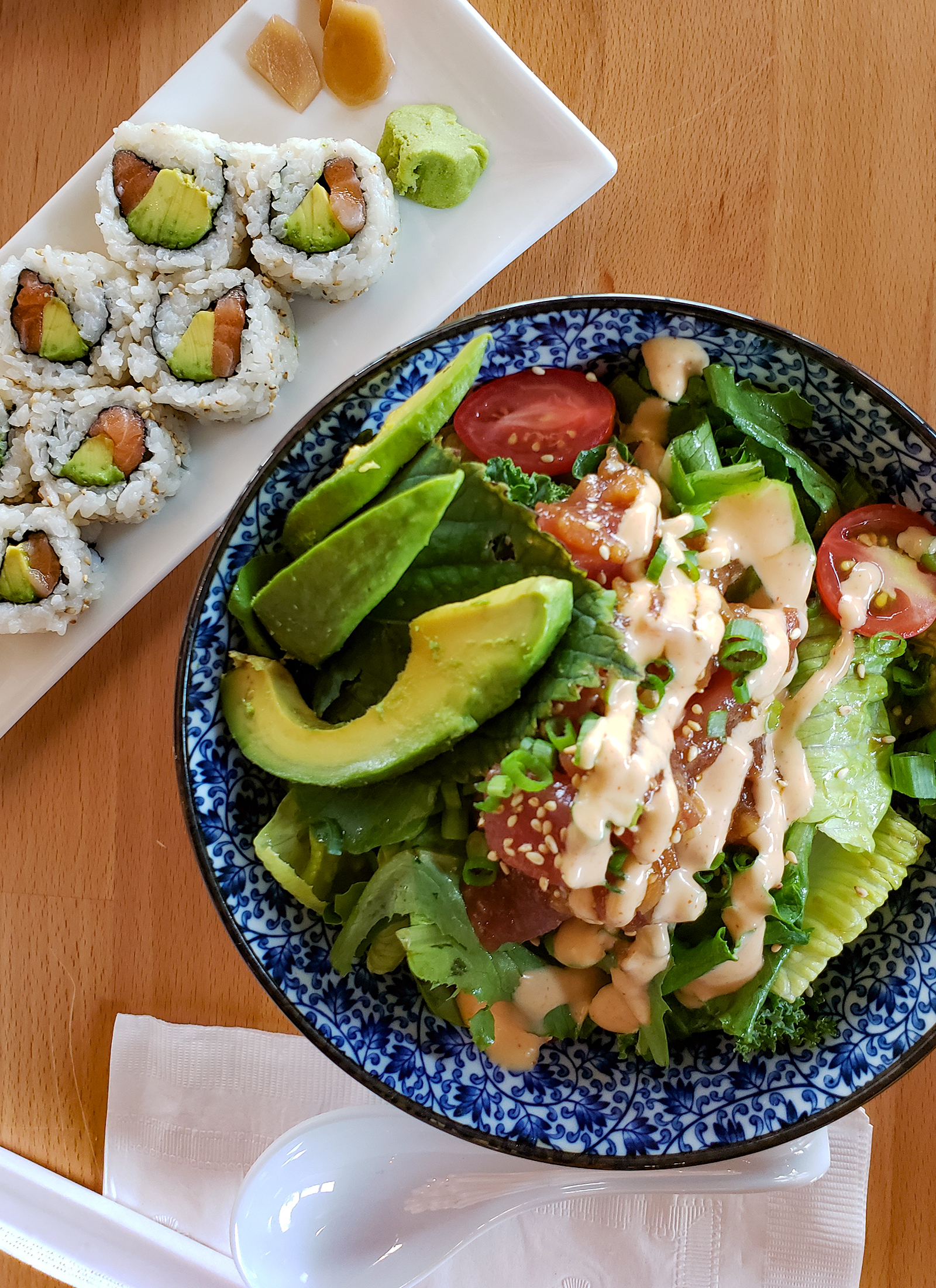 Poke Don, with wild-caught tuna, chili sesame soy, organic avocado, greens and veganaise at Raku Ramen and Rolls in Santa Rosa. Heather Irwin/PD