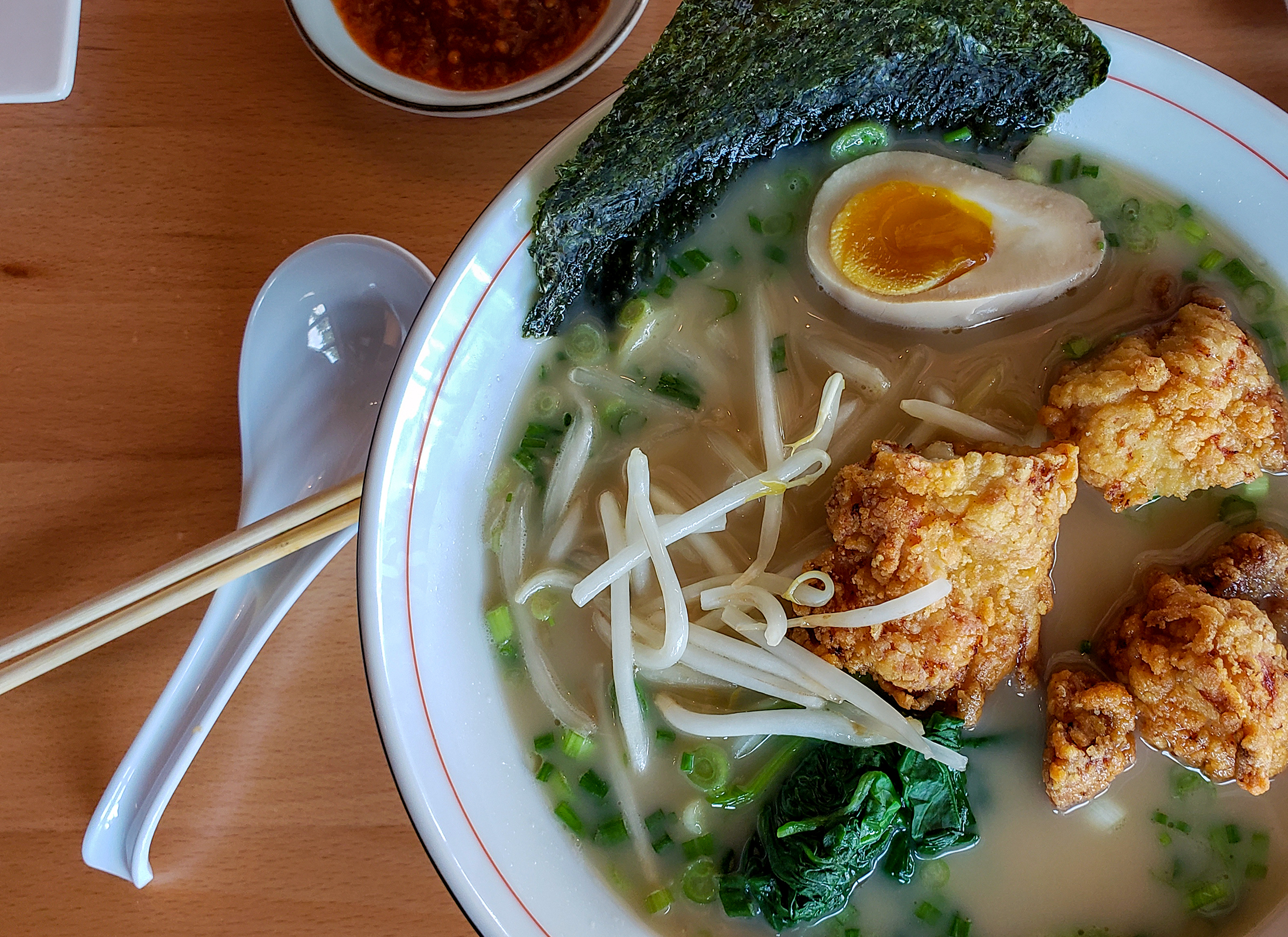 Tonkatsu ramen (a pork bone broth) with chicken karaage at Raku Ramen and Rolls in Santa Rosa. Heather Irwin/PD