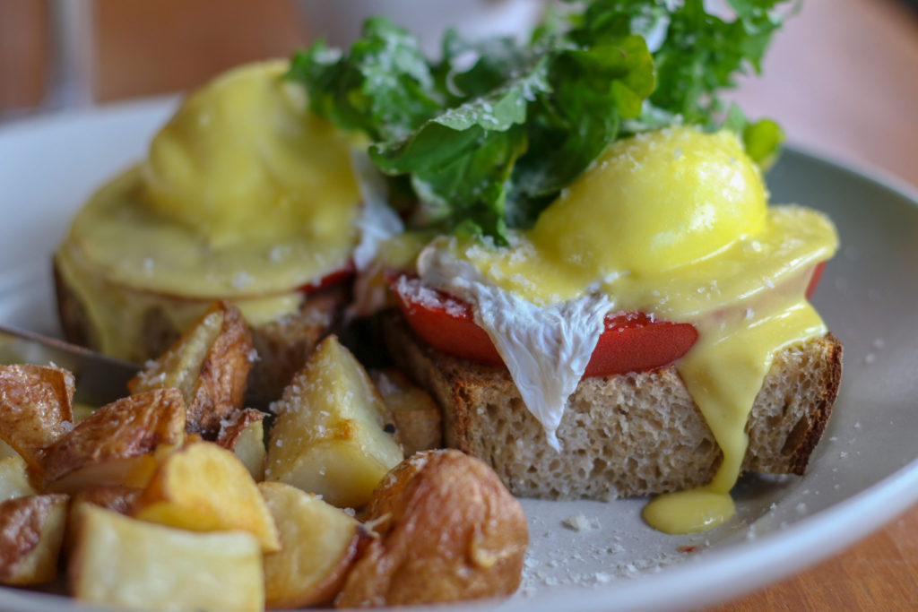 Eggs Benedict with roasted potatoes at Lowell's in Sebastopol. Heather Irwin/PD