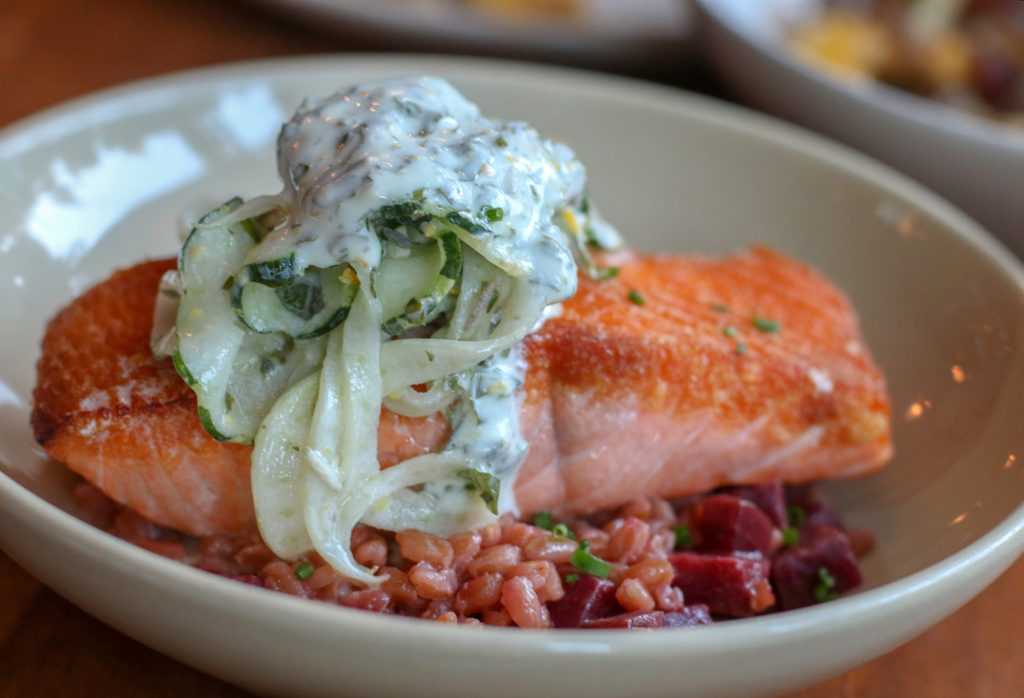 King salmon with 'Farrotto', beet, fennel, cucumber, herbed yogurt at Lowell's in Sebastopol. Heather Irwin/PD