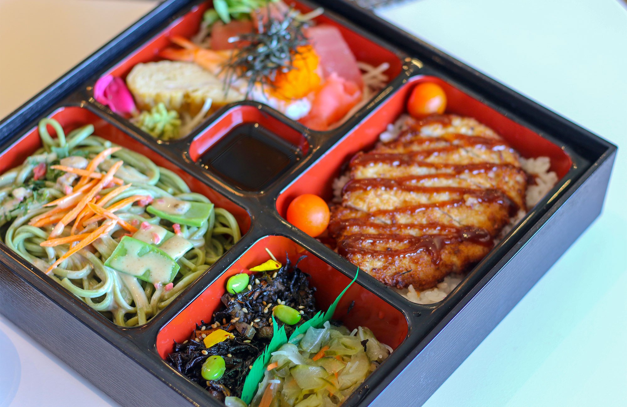 Bento Box with chicken Katsu at Taste of Tea in Healdsburg. Heather Irwin/PD