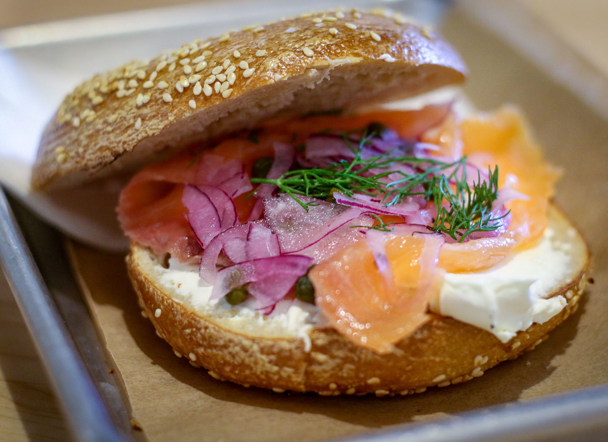 Lox and cream cheese sesame bagel at the Bagel Mill in Petaluma. Heather Irwin/PD