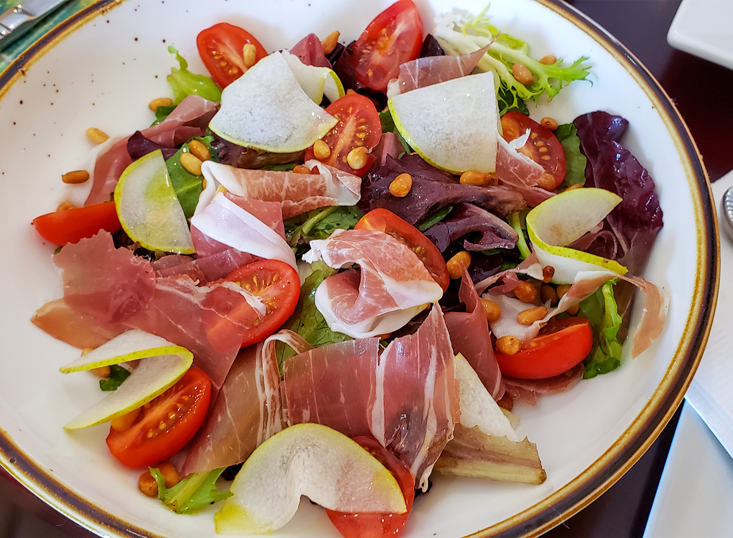 Salad with pear, prosciutto and tomatoes at Creperie Chez Solange in Larkfield. Heather Irwin/PD