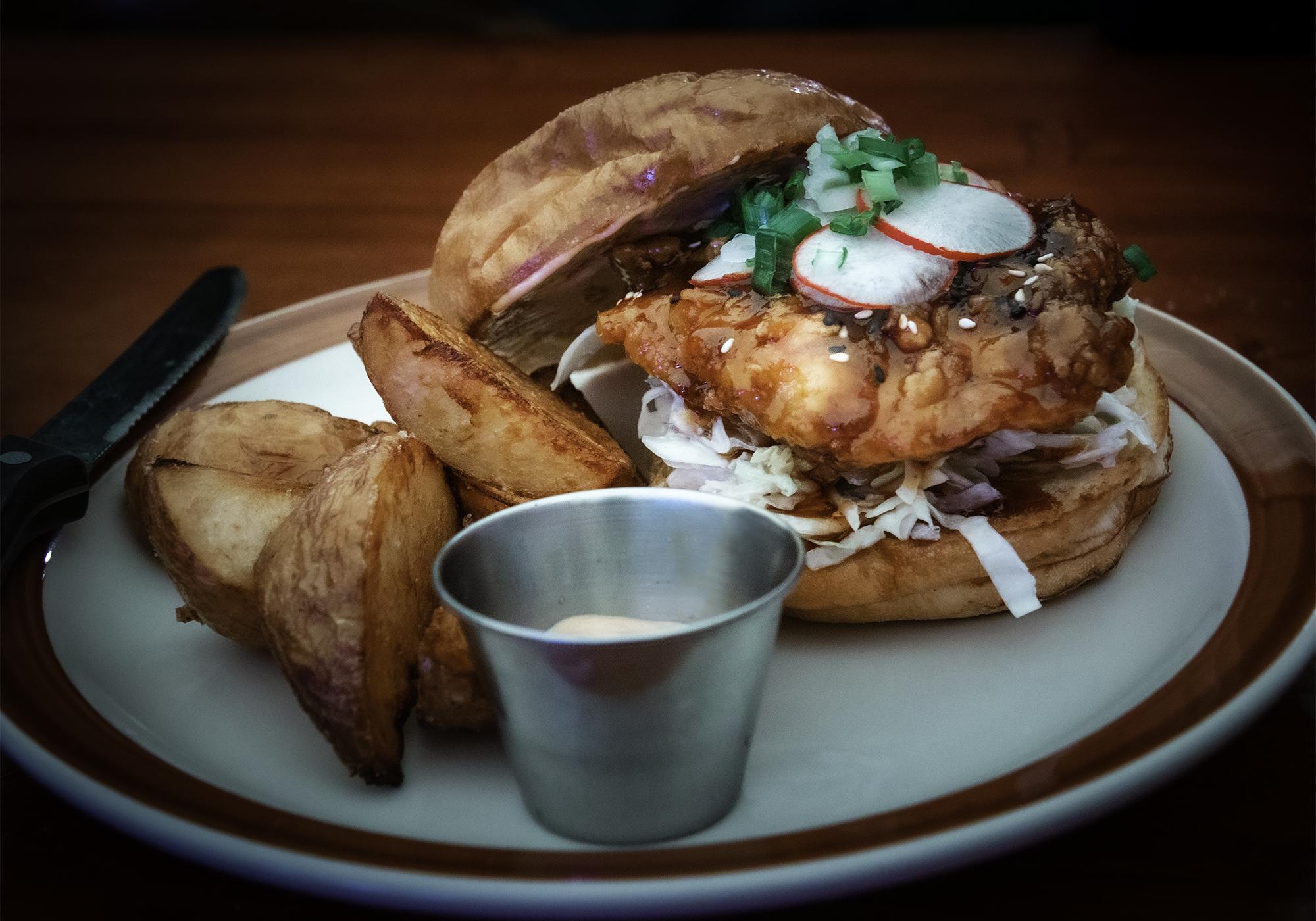 Korean fried chicken sandwich at Pat's International in Guerneville. Heather Irwin/PD